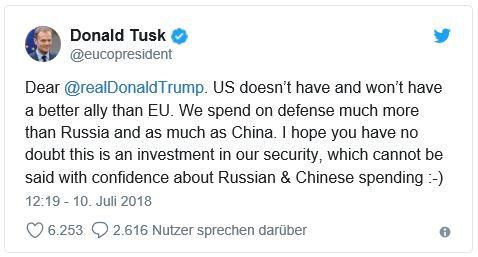 Ich bin zwar nicht immer derselben Meinung, aber mit diesem Statement hat Donald Tusk voll ins Schwarze getroffen!